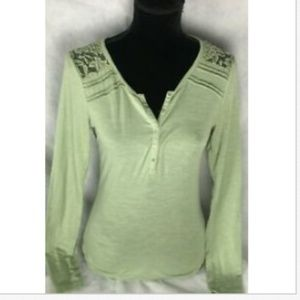 Poof Women's Top khaki Green Lace Layered Size Med